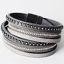 Wickelarmband mit Strass - grau