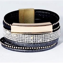 Wickelarmband mit Strass - schwarz & gold