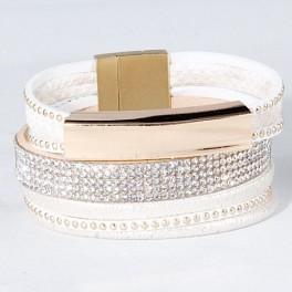 Wickelarmband mit Strass - weiss & gold
