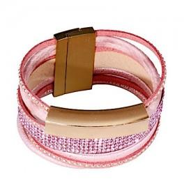 Wickelarmband mit Strass - rosa & gold