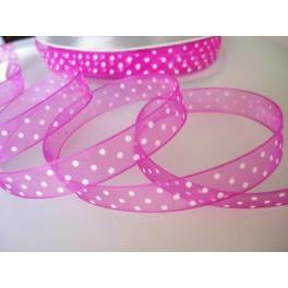 Pink Polka Organza Ribbon