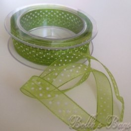 Green Polka Organza Ribbon